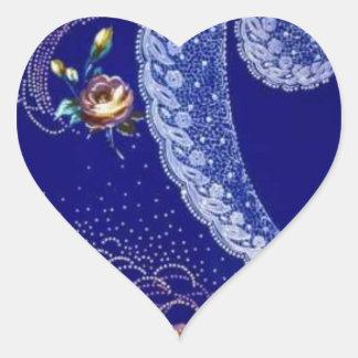 Lacey Blue Fractals Heart Sticker