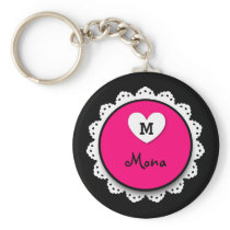 Lacey Circle Monogram and Name V09 PINK Keychain