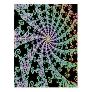 Lacey Green Pink onFancy  Black Fractal Design Postcard