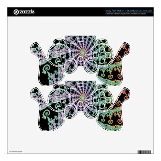 Lacey Green Pink onFancy  Black Fractal Design PS3 Controller Decal