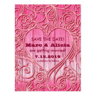 Lacey Heart Save the Date Post Card