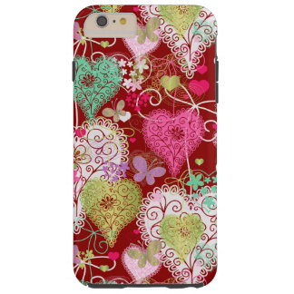 Lacey Hearts with Butterflies Tough iPhone 6 Plus Case