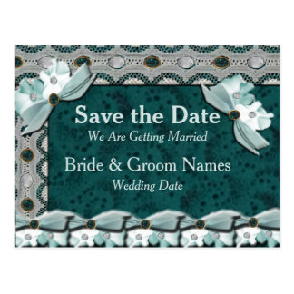 Lacey Steel Teal Gems Save the Date Postcard