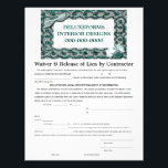 """Lacey Steel Teal Waiver &amp; Release Letterhead<br><div class=""""desc"""">Deluxeforms features lacey steel teal waiver and release of lien by contractor form. Great as a logo for business owners or anyone. Customize it to make it your own. Available in other sizes and/or styles. Find other great business products on my Deluxeforms* Zazzle Store(www.deluxecontractorforms.com/deluxeforms.html or www.zazzle.com/deluxeforms*). **IMAGE ARTWORK/PHOTO COPYRIGHTS** This...</div>"""
