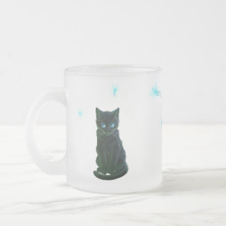 lack kitty and fairies frosted glass coffee mug