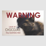 LACK OF CHOCOLATE Funny Cat Stickers