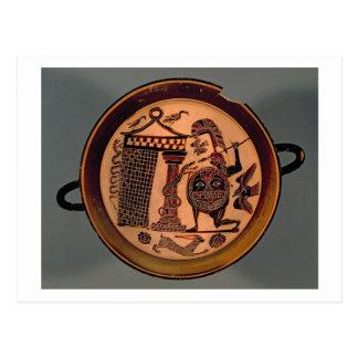 Laconian black-figure cup depicting a warrior atta postcard