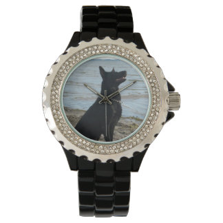 Lacquer Black German Shepherd at the Beach Wristwatch