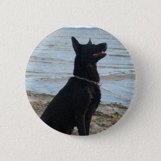 Lacquer Black German Shepherd Button