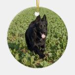 Lacquer Black German Shepherd Christmas Ornament