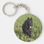 Lacquer Black German Shepherd Basic Round Button Keychain
