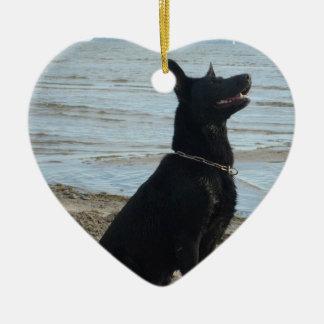 Lacquer Black German Shepherd Ornament
