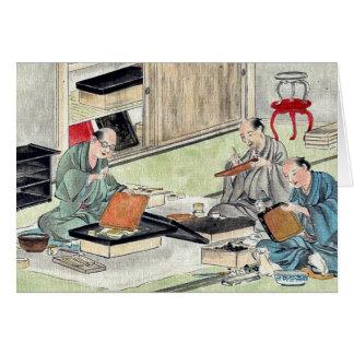 Lacquer craftsmen by Hasegawa Settei Ukiyoe Cards