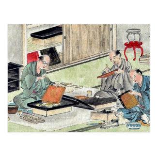 Lacquer craftsmen by Hasegawa Settei Ukiyoe Postcard