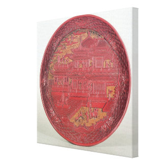 Lacquer dish, carved stretched canvas print