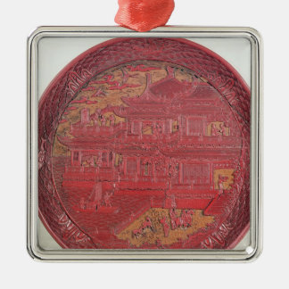 Lacquer dish, carved ornament