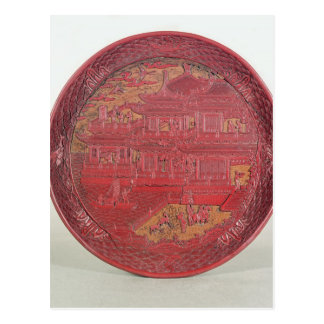 Lacquer dish, carved postcard