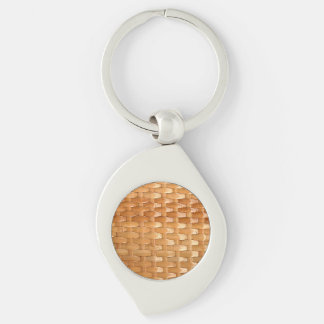 Lacquer Wicker Basketweave Texture Look Silver-Colored Swirl Metal Keychain