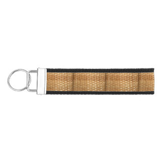 Lacquer Wicker Basketweave Texture Look Wrist Keychain