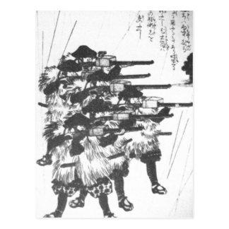 Lacquered boxes against rain by Utagawa Kuniyoshi Postcard