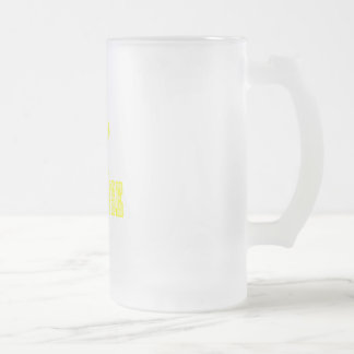 Lacross Yellow Frosted Glass Beer Mug