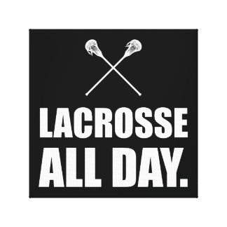 Lacrosse All Day White Canvas Print
