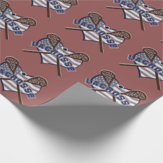 Lacrosse Americas Original Sport Heart Flag Wrapping Paper