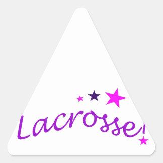 LaCrosse arqueado con las estrellas Pegatina Triangular