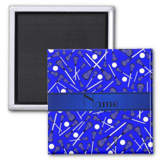 Lacrosse azul conocido personalizado imán