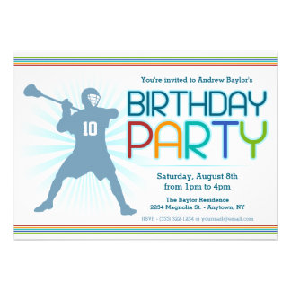 Lacrosse Birthday Party Invites - lax themed