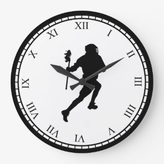 Lacrosse Black and White Sports Clock
