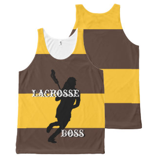 Lacrosse Boss F Brown and Gold Striped All-Over-Print Tank Top