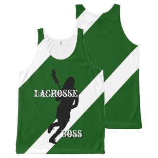 Lacrosse Boss F Green and White Diagonally-Striped All-Over-Print Tank Top