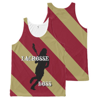 Lacrosse Boss F Maroon & Gold Diagonally-Striped All-Over-Print Tank Top