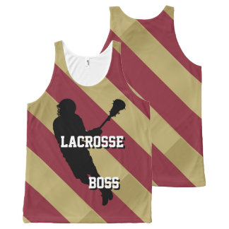 Lacrosse Boss M Crimson and Gold Striped All-Over-Print Tank Top