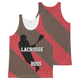 Lacrosse Boss M Red and Brown Striped All-Over-Print Tank Top