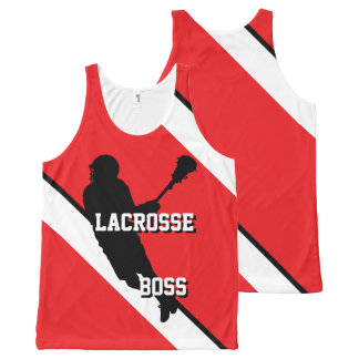 Lacrosse Boss M Red White and Black Striped All-Over-Print Tank Top