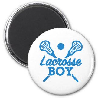 Lacrosse boy 2 inch round magnet