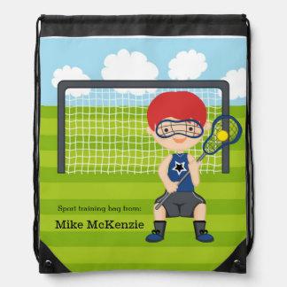 Lacrosse boy drawstring backpack