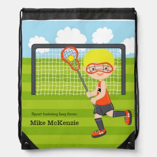 Lacrosse boy drawstring bag
