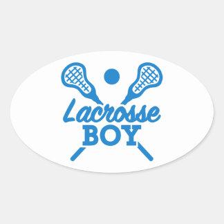 Lacrosse boy oval sticker