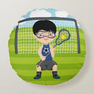 Lacrosse boy round pillow
