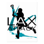 Lacrosse Boys LAX Attack Aqua Postcard