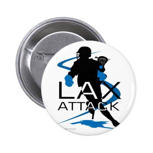 Lacrosse Boys LAX Attack Blue 2 Inch Round Button