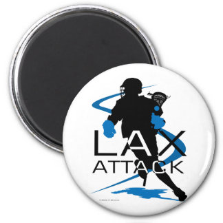 Lacrosse Boys LAX Attack Blue 2 Inch Round Magnet