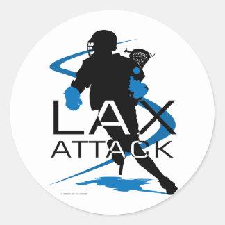 Lacrosse Boys LAX Attack Blue Classic Round Sticker