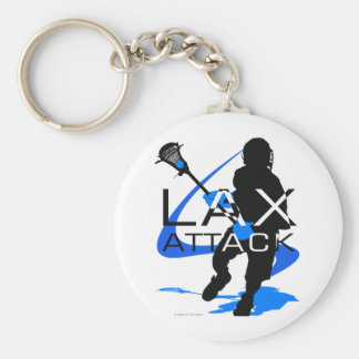 Lacrosse Boys LAX Attack Blue Keychain