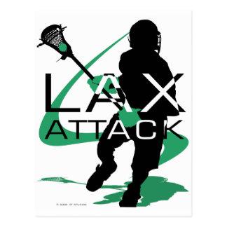 Lacrosse Boys LAX Attack Green Postcard