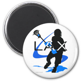 Lacrosse Boys LAX Blue 2 Inch Round Magnet