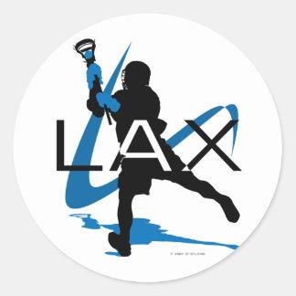 Lacrosse Boys LAX Blue Classic Round Sticker